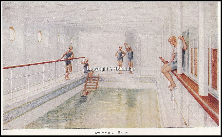 BNPS.co.uk (01202 558833)<br /> Pic: HAldridge/BNPS<br /> <br /> The swimming baths on the Titanic.<br /> <br /> A rare holiday brochure for the Titanic has surfaced after 106 years.<br /> <br /> The brochure was specifically aimed at rich first and second class passengers and contained colourful images of the most luxurious parts of the doomed liner.<br /> <br /> It walked the reader through different parts of the 'unsinkable' ship, from the opulent reception room, to the Louis XVI period designed restaurant and the promenade deck.<br /> <br /> The sumptuous state rooms that cost the equivalent of £40,000 to stay in, are featured in the fascinating brochure as is the famous grand staircase that featured heavily in the 1997 movie starring Kate Winslet.