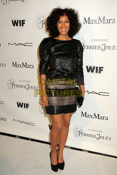 TRACEE ELLIS ROSS .3rd Annual Women In Film Pre-Oscar Party held at a Private Residence in Beverly Hills, California, USA, .4th March 2010..full length dress black sparkly shiny brown grey gray striped panel shoes platform clutch bag .CAP/ADM/BP.©Byron Purvis/AdMedia/Capital Pictures.