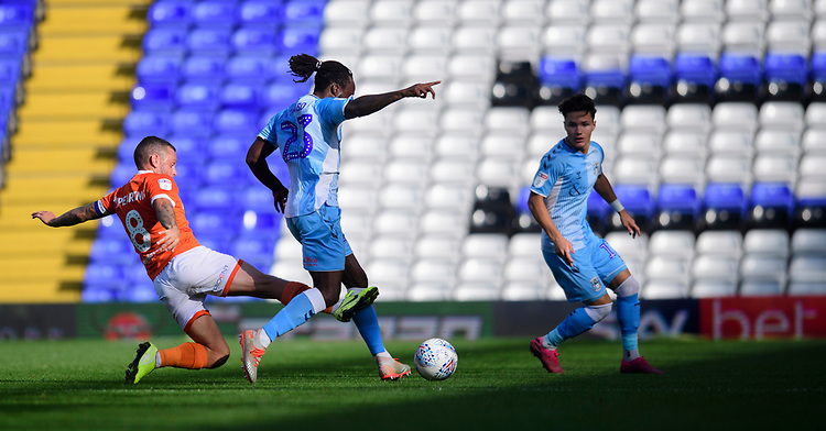 Coventry City's Fankaty Dabo is tackled by Blackpool's Jay Spearing<br /> <br /> Photographer Chris Vaughan/CameraSport<br /> <br /> The EFL Sky Bet League One - Coventry City v Blackpool - Saturday 7th September 2019 - St Andrew's - Birmingham<br /> <br /> World Copyright © 2019 CameraSport. All rights reserved. 43 Linden Ave. Countesthorpe. Leicester. England. LE8 5PG - Tel: +44 (0) 116 277 4147 - admin@camerasport.com - www.camerasport.com