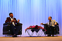 SoftBank Chairman &amp; CEO Masayoshi Son and group President &amp; COO Nikesh Arora attend companys special lecture in Tokyo, Japan on October 22, 2015.<br /> SoftBank Chairman &amp; CEO Masayoshi Son and group President &amp; COO Nikesh Arora discuss the SoftBank Group's Global Strategy, Leadership and other themes in a special fireside lecture<br /> (without fire) as part of the SoftBank Academia series. Via the series, which is also broadcast via webcast, SoftBank hopes to inspire and recruit potential leaders of the company. (Photo by Shingo Ito/AFLO)