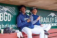 Fort Wayne TinCaps pitchers Henry Henry (17) and Angel Acevedo (36) pose for a photo during a Midwest League game against the Kane County Cougars at Parkview Field on May 1, 2019 in Fort Wayne, Indiana. Fort Wayne defeated Kane County 10-4. (Zachary Lucy/Four Seam Images)