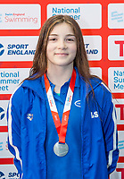 Picture by Allan McKenzie/SWpix.com - 05/08/2017 - Swimming - Swim England National Summer Meet 2017 - Ponds Forge International Sports Centre, Sheffield, England - Lydia Smith takes silver in the womens 15yrs 100m backstroke.