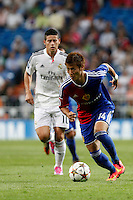 James of Real Madrid and Yoichiro Kakitani of FC Basel 1893 during the Champions League group B soccer match between Real Madrid and FC Basel 1893 at Santiago Bernabeu Stadium in Madrid, Spain. September 16, 2014. (ALTERPHOTOS/Caro Marin) /NortePhoto.com