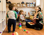April 7, 2017. Durham, North Carolina.<br /> <br /> Lis Tyroler, right, one of the owners of Nido, works with Filomena Overington and Caleb Miller D'Silva in the on site daycare center. <br /> <br /> Nido is a co-working space which also offers a Montessori preschool on site. Catering to working parents with morning and afternoon preschool shifts, Nido has thrived and is actively looking for a larger space. <br /> <br /> Jeremy M. Lange for The New York TImes
