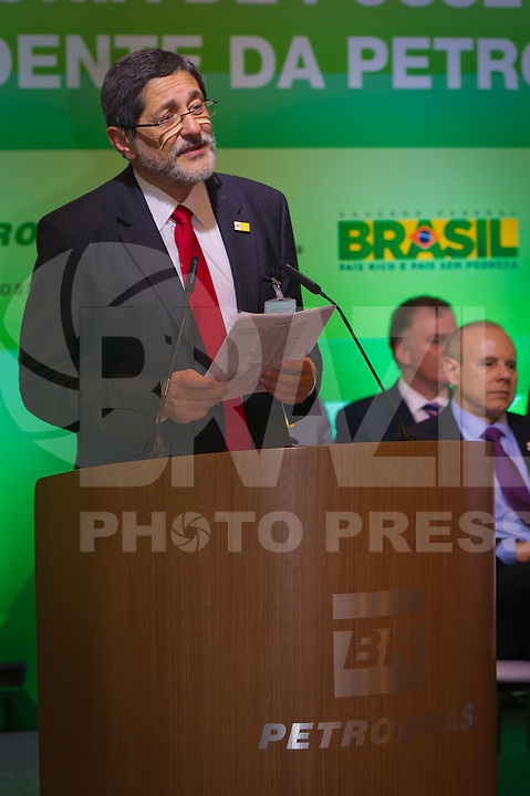 RIO DE JANEIRO, RJ, 13 DE FEVEREIRO DE 2012 - Cerimônia de Posse da nova Presidente da Petrobrás  - O Ex-Presidente da Petrobras José Sergio Gabrielli em seu discurso de despedida, após 8 anos como Presidente da Petrobras, na sede da Petrobras.<br /> FOTO GLAICON EMRICH - NEWS FREE.