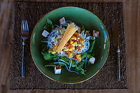 Jimbaran, Bali, Indonesia.  Grilled Tofu Salad, a Vegetarian Lunch.