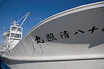Shiretoko Peninsula, Hokkaido Island, Japan<br /> Bow of white fishing boats, Utoro village harbor