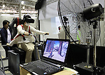 """April 30, 2016, Chiba, Japan - A visitor enjoys virtual World Heritage tour with bicycle, produced by virtual reality software company Frame Synthesis during the Niconico Chokaigi in Chiba on Saturday, April 30, 2016. Some 150,000 visitors enjoyed over 100 booths including games, hobbies, sports, politics as well as Japan's sub cultures at the two-day offline meeting sponsored by Japan's video sharing website """"Niconico Douga"""".  (Photo by Yoshio Tsunoda/AFLO) LWX -ytd-"""