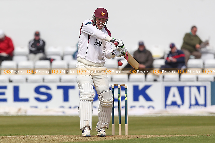 David Willey hits four runs for Northants - Northamptonshire CCC vs Essex CCC - LV County Championship Division Two Cricket at the County Ground, Northampton - 18/04/13 - MANDATORY CREDIT: Gavin Ellis/TGSPHOTO - Self billing applies where appropriate - 0845 094 6026 - contact@tgsphoto.co.uk - NO UNPAID USE.