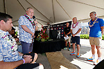 KAILUA-KONA, HI - OCTOBER 11:  A general view Andrew Messick presenting a paddle to the Taupo Committee for the 2020 IRONMAN 70.3 World Championship site during the State of IRONMAN Press Conference leading up to the 2018 IRONMAN World Championships in Kailua-Kona, Hawaii on October 11, 2018. (Photo by Donald Miralle for IRONMAN)