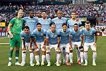 23 May 2013:  Manchester City starting lineup...Front Row (L/R): Carlos Tevez (32)(ARG),  Sergio Aguero (28)(ARG), Pablo Zabaleta (5)(ARG), David Silva (21)(ESP), Gael Clichy (22)(FRA), Albert Rusnak (55)(SVK);..Back Row (L/R): Joe Hart (1)(ENG), Yaya Toure (42)(CIV), Javi Garcia (14)(ESP), Vincent Kompany (4)(BEL), Karim Rekik (44)(NED)...Chelsea F.C. was defeated by Manchester City 3-4 at Busch Stadium in Saint Louis, Missouri, in a friendly exhibition soccer match.