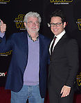 J.J. Abrams, George Lucas at Star Wars: The Force Awakens World Premiere held at El Capitan Theatre in Hollywood, California on December  14,2015                                                                   Copyright 2015Hollywood Press Agency
