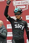Michal Kwiatkowski (POL) Team Sky at sign on before the start of the 2017 Strade Bianche running 175km from Siena to Siena, Tuscany, Italy 4th March 2017.<br /> Picture: Heinz &amp; Sabine Zwicky/Radsport.ch | Newsfile<br /> <br /> <br /> All photos usage must carry mandatory copyright credit (&copy; Newsfile | Heinz &amp; Sabine Zwicky/Radsport.ch)