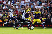 Pictured: Nicolas Anelka of West Brom (C) against Jose Canas of Swansea (R). Sunday 01 September 2013<br />