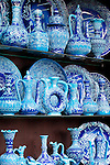 Turkish Blue Glazed Pottery - Vases, coffee pots and plates for sale at Arasta Bazaar, Sultanahmet, Istanbul, Turkey. Rick Piper Photography.