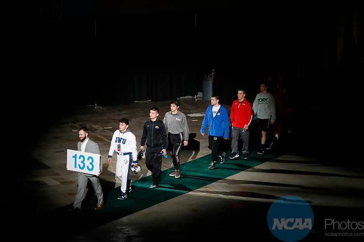 LA CROSSE, WI - MARCH 11:  The 133-pound weight class takes the stage during the Division III Men's Wrestling Championship held at the La Crosse Center on March 11, 2017 in La Crosse, Wisconsin. (Photo by Carlos Gonzalez/NCAA Photos via Getty Images)