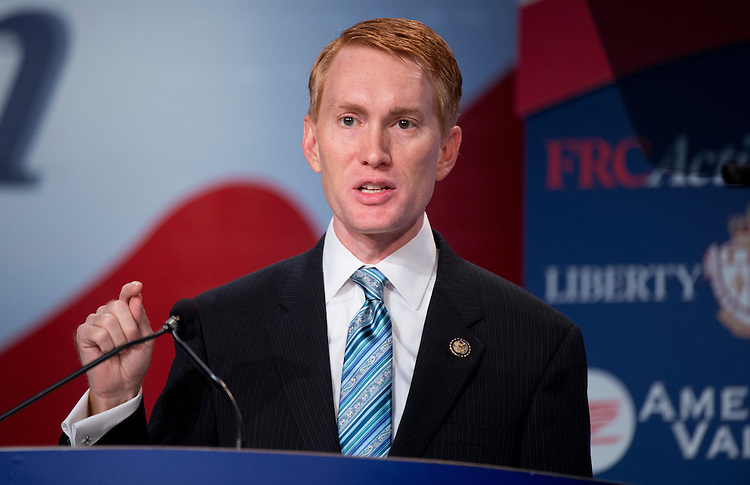 UNITED STATES - SEPTEMBER 14:  Rep. James Lankford, R-Okla., addresses the Values Voter Summit at the Omni Shoreham Hotel in Woodley Park.  (Photo By Tom Williams/CQ Roll Call)