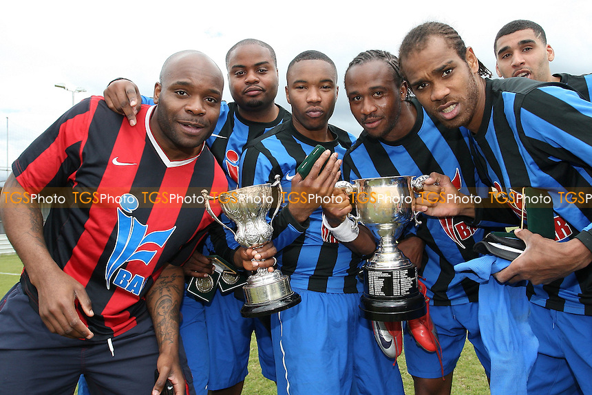 Lapton celebrate with the cup - Bancroft United (yellow/white) vs Lapton (blue/black) - Hackney & Leyton Sunday League Jack Walpole Cup Final at Wadham Lodge - 08/05/11 - MANDATORY CREDIT: Gavin Ellis/TGSPHOTO - Self billing applies where appropriate - Tel: 0845 094 6026