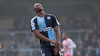 Rowan Liburd of Wycombe Wanderers shows his frustration during the Sky Bet League 2 match between Wycombe Wanderers and Stevenage at Adams Park, High Wycombe, England on 12 March 2016. Photo by Andy Rowland/PRiME Media Images.