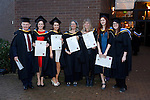 REPRO FREE<br /> 21/01/2015<br /> Ray O'Callaghan, Roisin Rodgers, Elayne Mulcahy, Ruti Lachs, Caz Jaffreys, Claire DeVaux-Glattli and Melissa Shepherd, MA Community Music Irish World Academy of Music and Dance at the University of Limerick pictured as the University of Limerick continues three days of Winter conferring ceremonies which will see 1831 students conferring, including 74 PhDs. <br /> UL President, Professor Don Barry highlighted the increasing growth in demand for UL graduates by employers and the institution&rsquo;s position as Sunday Times University of the Year. <br /> Picture: Don Moloney / Press 22