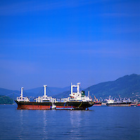 Vancouver, BC, British Columbia, Canada - Freighters at Anchor in Port of Vancouver Harbour