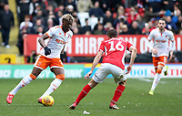 Blackpool's Armand Gnanduillet tries to get round Charlton Athletic's Ben Purrington<br /> <br /> Photographer David Shipman/CameraSport<br /> <br /> The EFL Sky Bet League One - Charlton Athletic v Blackpool - Saturday 16th February 2019 - The Valley - London<br /> <br /> World Copyright © 2019 CameraSport. All rights reserved. 43 Linden Ave. Countesthorpe. Leicester. England. LE8 5PG - Tel: +44 (0) 116 277 4147 - admin@camerasport.com - www.camerasport.com