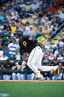 Pittsburgh Pirates center fielder Willy Garcia (60) at bat during a Spring Training game against the Toronto Blue Jays  on March 3, 2016 at McKechnie Field in Bradenton, Florida.  Toronto defeated Pittsburgh 10-8.  (Mike Janes/Four Seam Images)