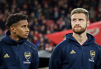 Reiss Nelson (left) & Shkodran Mustafi of Arsenal during the UEFA Europa League match between Arsenal and Standard Liege at the Emirates Stadium, London, England on 3 October 2019. Photo by Andrew Aleks.