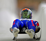 7 February 2009: Ondrej Hyman slides for the Czech Republic in the Men's Competition at the 41st FIL Luge World Championships, in Lake Placid, New York, USA. .  .Mandatory Photo Credit: Ed Wolfstein Photo
