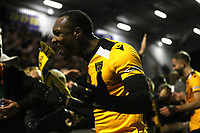 Gavin Hoyte of Maidstone celebrates their victory with the fans at the end of the match during Maidstone United vs Torquay United, Emirates FA Cup Football at the Gallagher Stadium on 9th November 2019