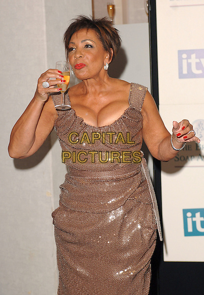 DAME SHIRLEY BASSEY.Inside the Press Room at the British Soap Awards 2007, BBC Television Centre, London, England. .May 26, 2007.half length drinking glass of champagne cleavage Bassy  gold sparkly dress bronze brown.CAP/BEL.©Belcher/Capital Pictures