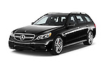 2015 Mercedes Benz E Class E63 AMG S 5 Door Wagon Angular Front stock photos of front three quarter view