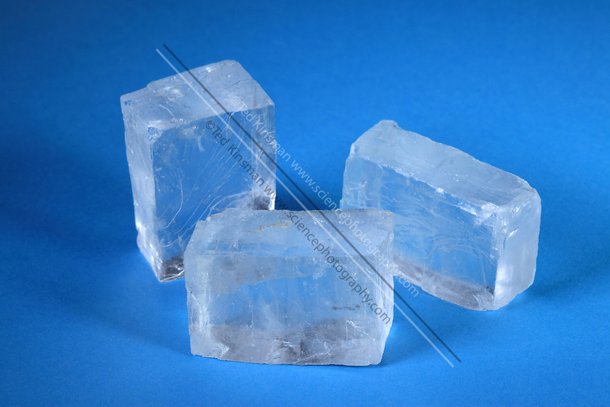 Salt crystals (NaCl).  Large samples of rock salt showing the cubic cleavage structure.