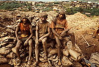 Gold miners at Serra Pelada mine, Para State, Amazon rain forest, Brazil, 1989.