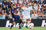 Lucas Vazquez (r) of Real Madrid fights for the ball with Jordi Alba Ramos of FC Barcelona during their Supercopa de Espana Final 2nd Leg match between Real Madrid and FC Barcelona at the Estadio Santiago Bernabeu on 16 August 2017 in Madrid, Spain. Photo by Diego Gonzalez Souto / Power Sport Images