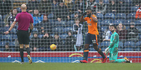 Oldham Athletic's Duckens Nazon celebrates scoring his and his side's second goal <br /> <br /> Photographer Stephen White/CameraSport<br /> <br /> The EFL Sky Bet League One - Blackburn Rovers v Oldham Athletic - Saturday 10th February 2018 - Ewood Park - Blackburn<br /> <br /> World Copyright &copy; 2018 CameraSport. All rights reserved. 43 Linden Ave. Countesthorpe. Leicester. England. LE8 5PG - Tel: +44 (0) 116 277 4147 - admin@camerasport.com - www.camerasport.com