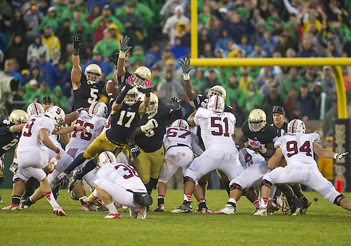 October 13, 2012:  Notre Dame players attempt to block field goal during NCAA Football game action between the Notre Dame Fighting Irish and the Stanford Cardinal at Notre Dame Stadium in South Bend, Indiana.  Notre Dame defeated Stanford 20-13.