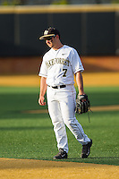 Wake Forest Demon Deacons second baseman Joey Rodriguez (7) on defense against the High Point Panthers at Wake Forest Baseball Park on April 2, 2014 in Winston-Salem, North Carolina.  The Demon Deacons defeated the Panthers 10-6.  (Brian Westerholt/Four Seam Images)
