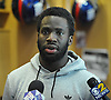 New York Giants No. 20 Prince Amukamara speaks to the media inside the locker room of Quest Diagnostics Training Center in East Rutherford, NJ on Monday, Nov. 16, 2015.<br /> <br /> James Escher