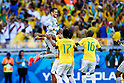 Julio Cesar (BRA), JUNE 28, 2014 - Football / Soccer : Brazil's Julio Cesar (top) celebrates with team mates after winning the penalty shoot out during the FIFA World Cup Brazil 2014 Round of 16 match between Brazil 1(3-2)1 Chile at Estadio Mineirao in Belo Horizonte, Brazil. (Photo by D.Nakashima/AFLO)