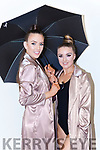 Chloe O'Connor and Niamh O'Sullivan sheltering under the Umbrella for Castleisland Lipsync on Saturday night