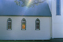 Traditional wooden church with stained glass window. Narooma, New South Wales