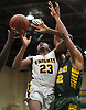 Zion Styles #23 of Uniondale draws a shooting foul during the Nassau County varsity boys basketball Class AA semifinals against Westbury at Farmingdale State College on Monday, Feb. 26, 2018. He scored 18 points in top-seeded Uniondale's 61-44 win.