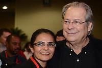 SAO PAULO, 09 DE JULHO DE 2012 -  HADDAD CONCUT - ex ministro Jose Dirceu em cerimonia de abertura do 11º Congresso Nacional da Central Única dos Trabalhadores (CONCUT), no expo transamerica, regiao sul da capital na noite desta segunda feira. FOTO: ALEXANDRE MOREIRA - BRZIL PHOTO PRESS