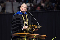 President Mark Keenum addressing the graduates and their families during the ceremony.<br />  (photo by Beth Wynn / &copy; Mississippi State University)