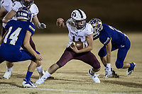 NWA Democrat-Gazette/BEN GOFF @NWABENGOFF<br /> Trey Rucker (11) of Prescott runs the ball as Andrew Robertson, Booneville defender, gives chase in the first quarter Saturday, Dec. 1, 2018, during the class 3A state semifinal game at Bearcat Stadium in Booneville.