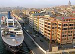 ISTANBUL, TURKEY - NOVEMBER 26: A cruise ship docked in port in Istanbul, Turkey on November 26, 2007.