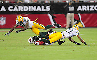 Aug. 28, 2009; Glendale, AZ, USA; Arizona Cardinals wide receiver (19) Lance Long is hit by Green Bay Packers safety (29) Anthony Smith and cornerback (21) Charles Woodson during a preseason game at University of Phoenix Stadium. Mandatory Credit: Mark J. Rebilas-