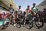 The Jerseys lined up Black Sprint Paul Voss (GER) Bora-Argon 18, White young rider Songezo Jim (RSA) MTN-Qhubeka, Red race leader Andrea Guardini (ITA) Astana and  Green Points worn by Tom Boonen (BEL) Etixx-Quick Step before the start of Stage 2, The Capital Stage, of the 2015 Abu Dhabi Tour running 129 km from Yas Marina Circuit to Yas Mall, Abu Dhabi. 9th October 2015.<br /> Picture: ANSA/Angelo Carconi | Newsfile