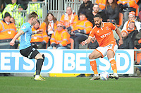 Blackpool's Liam Feeney under pressure from Southend United's Luke Hyam<br /> <br /> Photographer Kevin Barnes/CameraSport<br /> <br /> The EFL Sky Bet League One - Blackpool v Southend United - Saturday 9th March 2019 - Bloomfield Road - Blackpool<br /> <br /> World Copyright © 2019 CameraSport. All rights reserved. 43 Linden Ave. Countesthorpe. Leicester. England. LE8 5PG - Tel: +44 (0) 116 277 4147 - admin@camerasport.com - www.camerasport.com